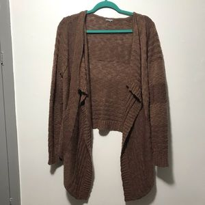 Brown, drape front sweater size L